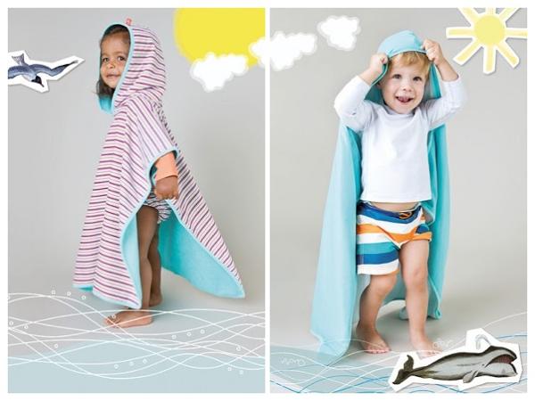 Ręcznik z kapturem Poncho UV 50+ Laessig - Small stripes-COLLAGE